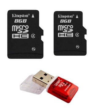 Kingston 8GB Micro SD Memory Card+Kingston 8GB Micro SD Memory Card+One Free Card Reader