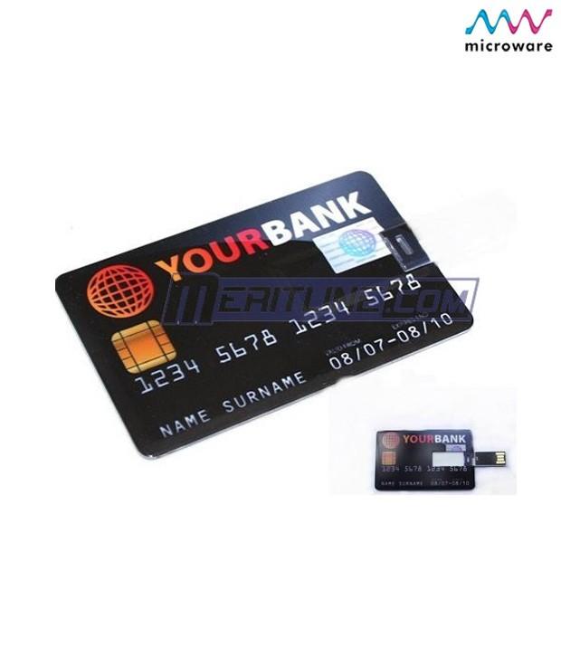 Microware 16GB Credit Card Shape Designer Pen Drive