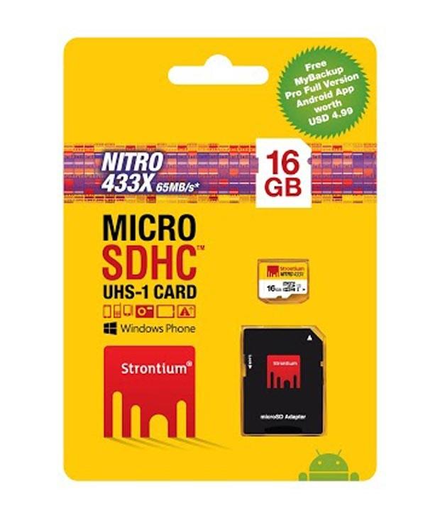 Strontium 16GB 65MB/S (Class10) 433X Nitro Micro SD Card UHS-1