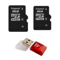 Kingston 8GB Micro SD Memory Card+Kingston 8GB Micro SD Memory Card+One Free Card Reader